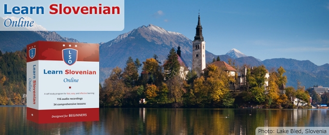 Learn Slovenian Online – Photo of Lake Bled, Slovenia in background